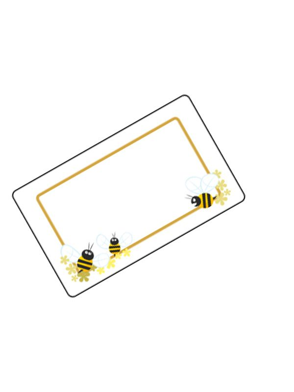 Jar Labels Honey Bees 63x38mm