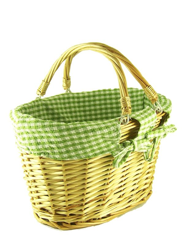 Natural Wicker Basket Green Check