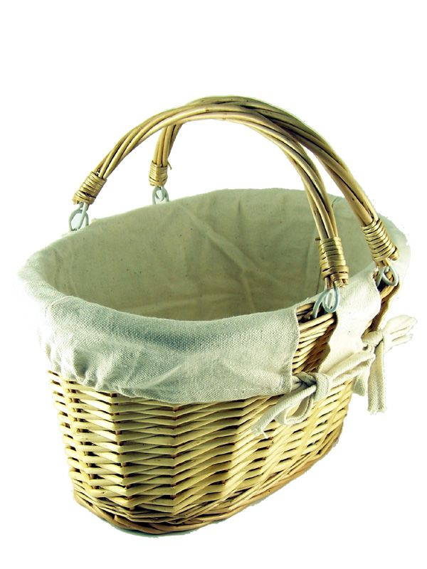 Natural Wicker Basket Plain Cotton