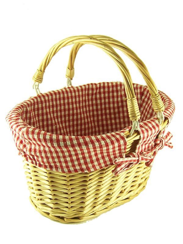 Natural Wicker Basket Red Check