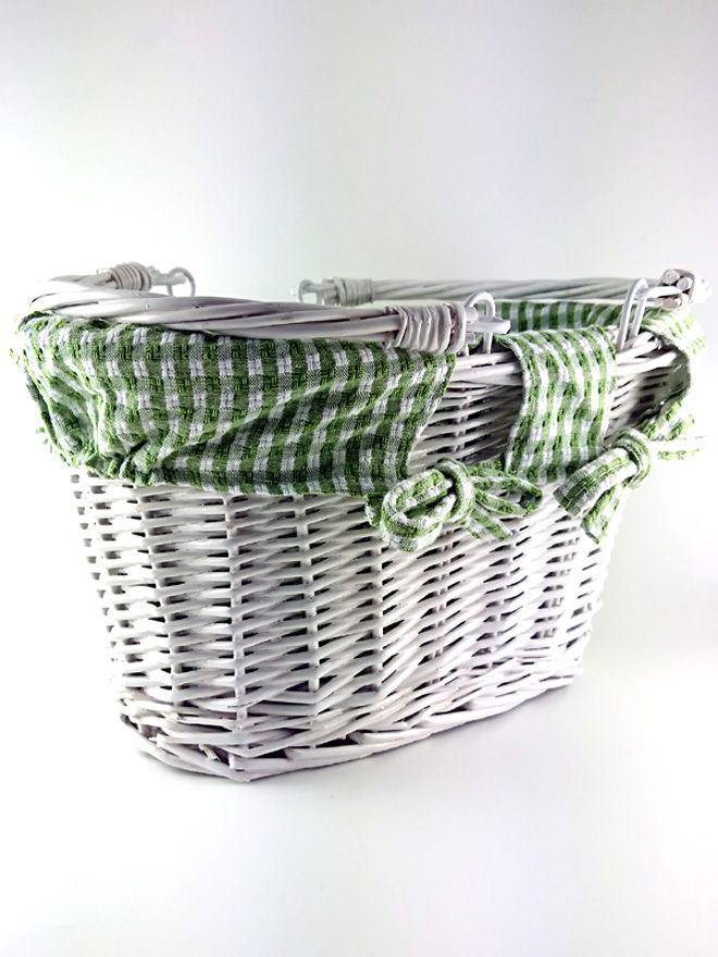 White Wicker Basket Lined Green Check