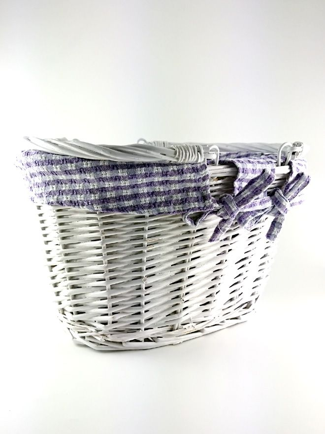 White Wicker Basket Lined Lavender Check