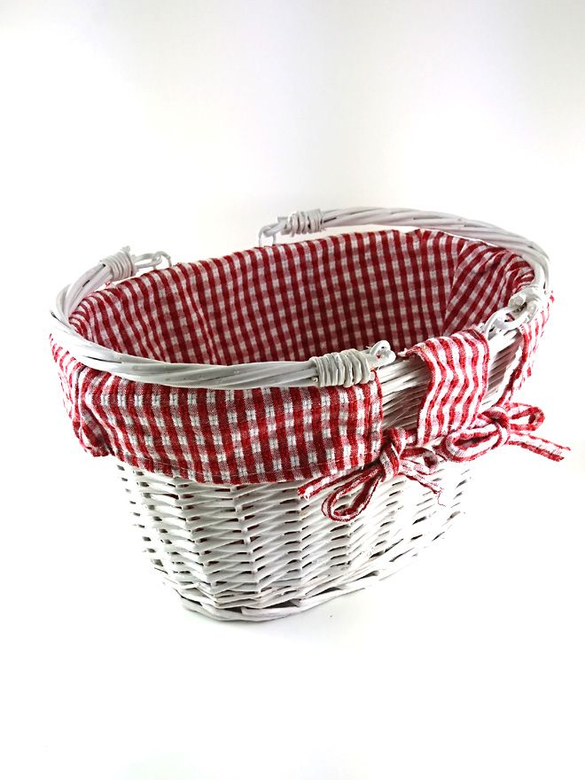 White Wicker Basket Lined Red Check