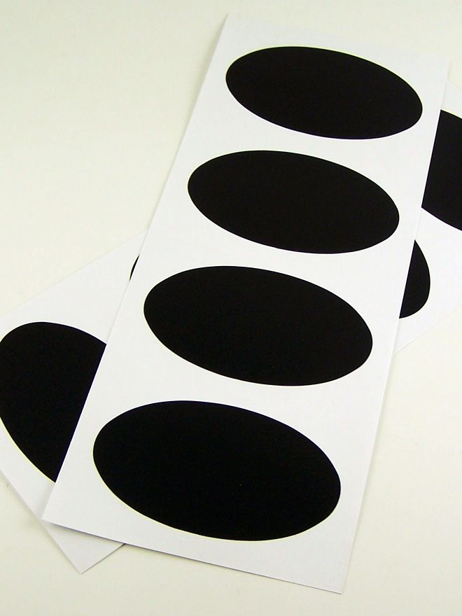 Black Chalkboard Labels Oval x8