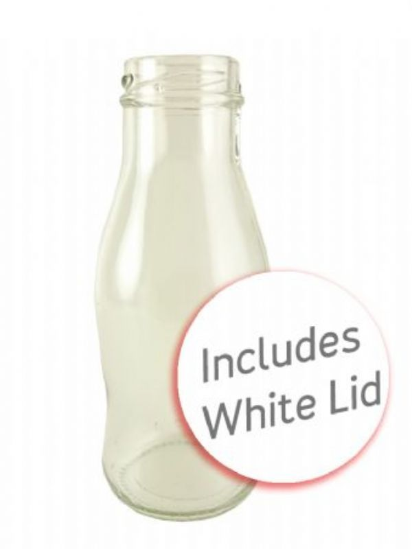 Glass Jessica Milk Bottle 250ml x70 with White Lid