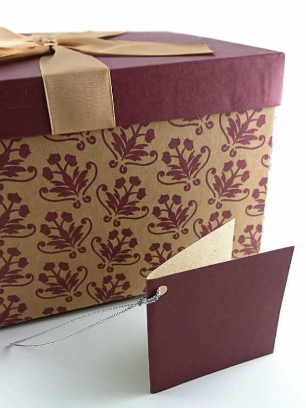 Gift Box Floral Burgundy Large Gift Boxes Bags Display Point