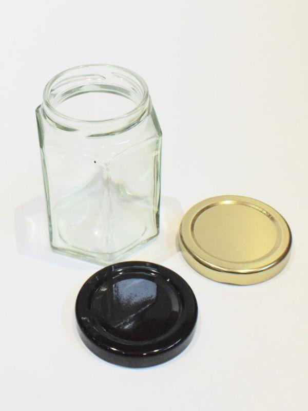 Jam Jars Hexagonal Glass 190ml