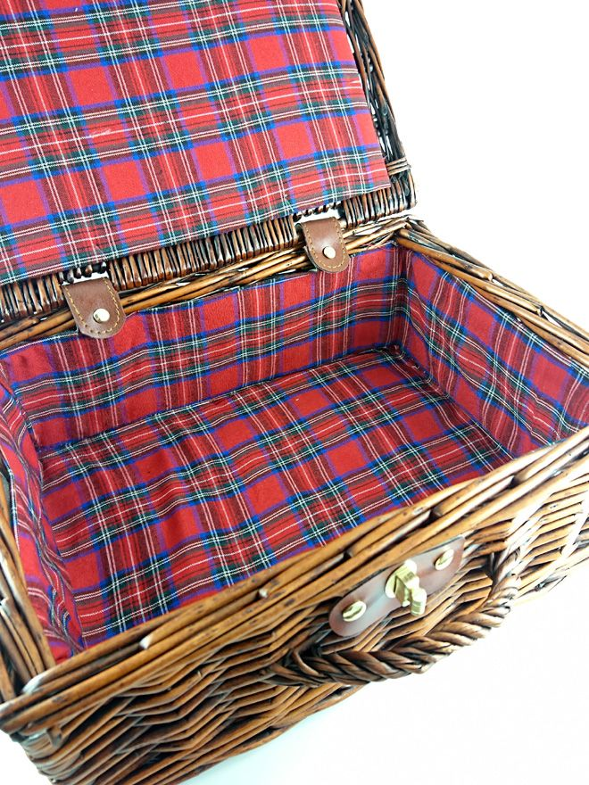 Wicker Hamper with Tartan Lining