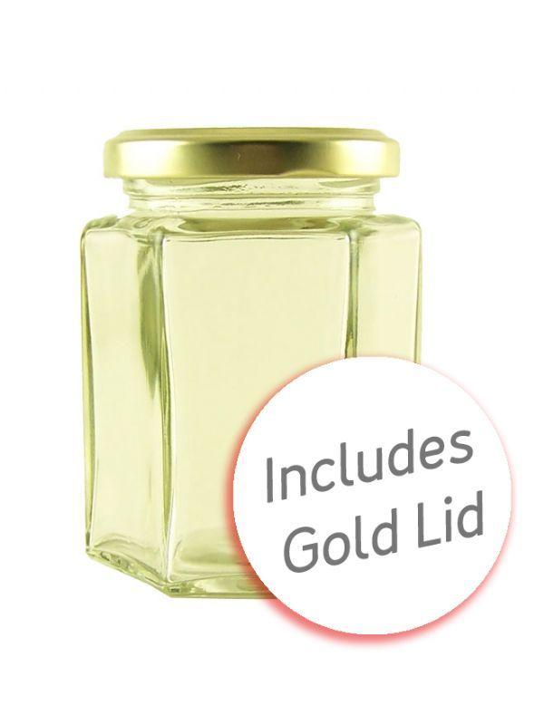 Hexagonal Jar 8oz/190ml with Gold Lid 1