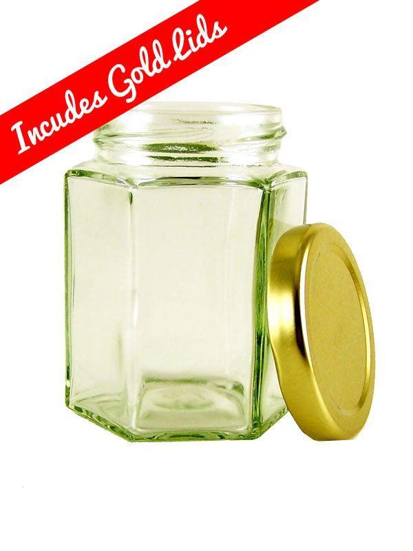 Hexagonal Jar 8oz/190ml with Gold Lid 2