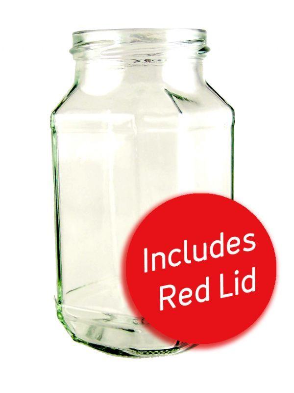 Jam Jars Quadro Glass 440ml with Red Lids