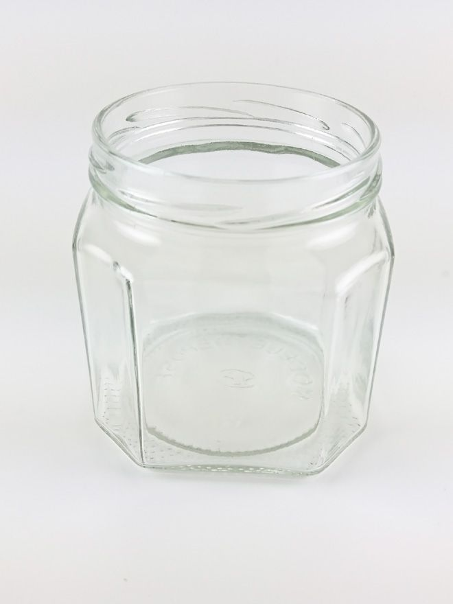 Jam Jars Facetted Glass 440ml with Red Gingham Lids