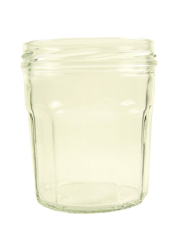 Jam Jars Facetted Glass 14oz/324ml plus red gingham lids 1