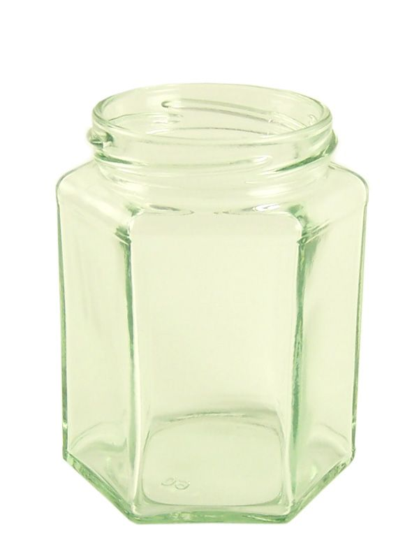 Jam Jars Hexagonal Glass 280ml/12oz