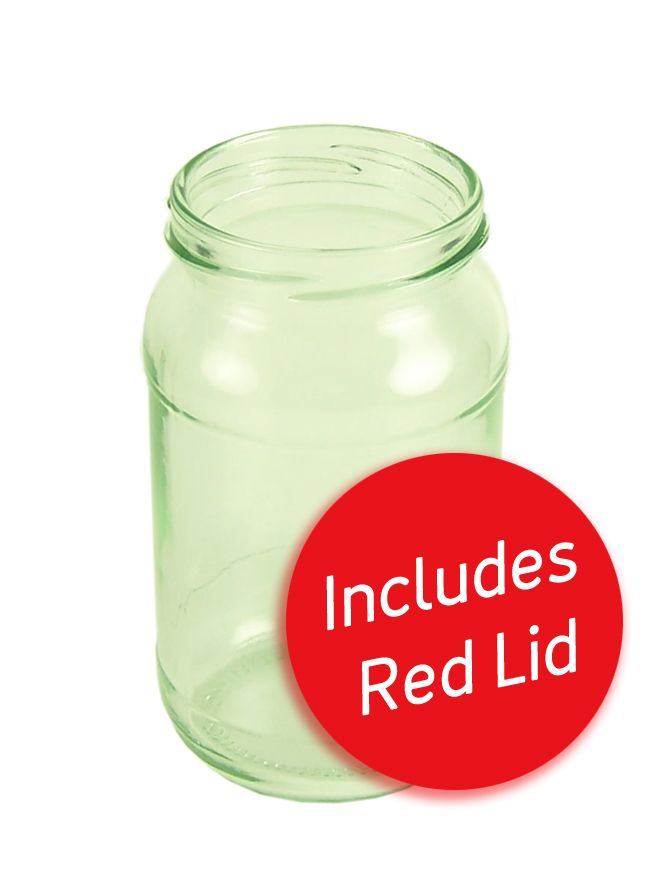 Jam Jars Round Glass 454g with Red Lids x 28