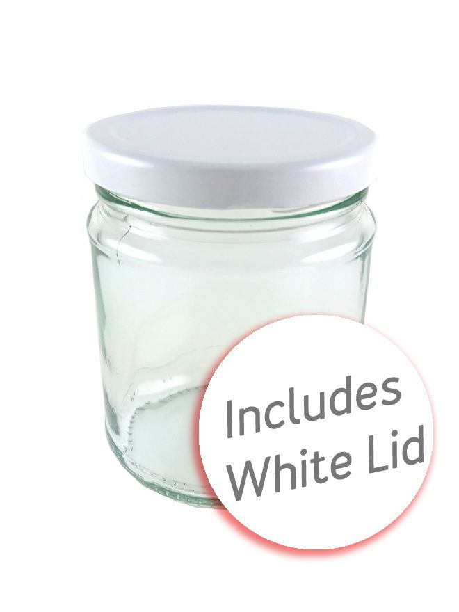 Jam Jars Round Glass 282ml with White Lid