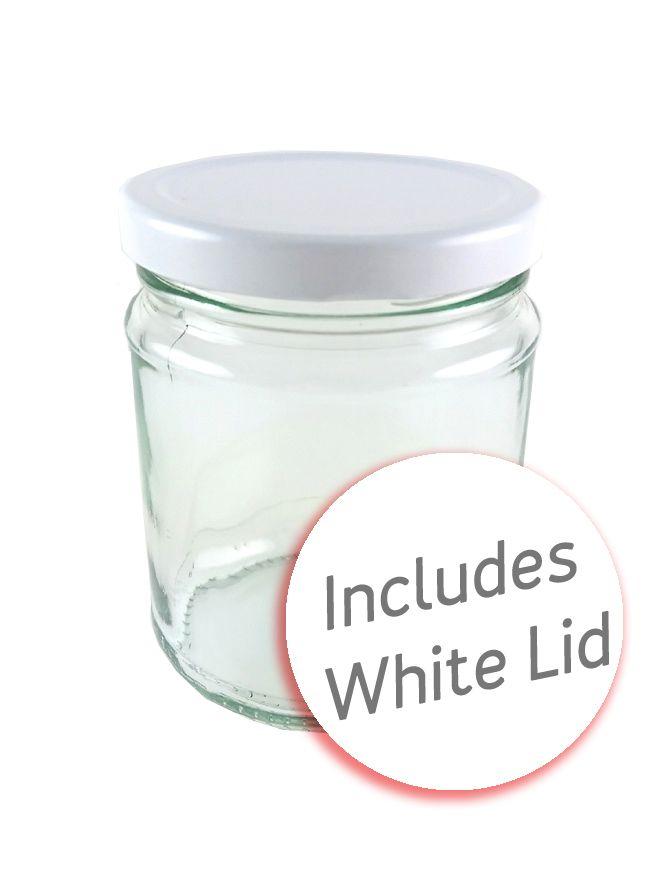 Jam Jars Round Glass 282ml with White Lid