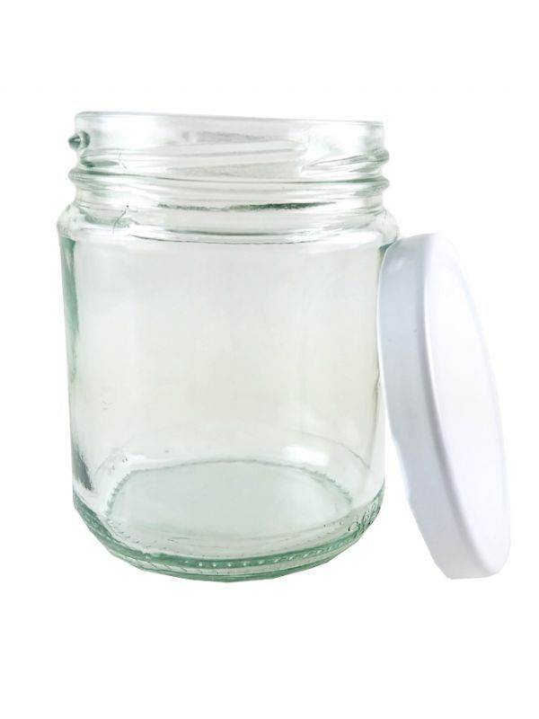 Jam Jars Round Glass 282ml with White Lid 3