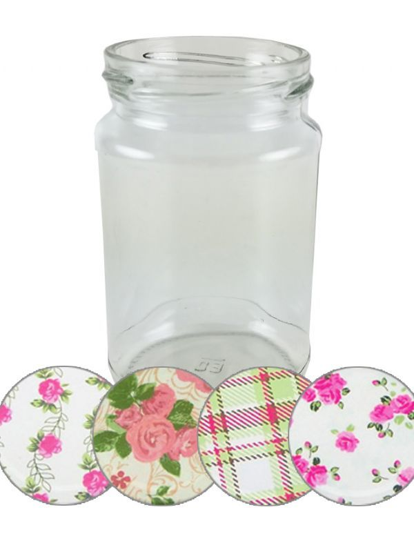 Jam Jars Round Glass 290ml Summer Frocks Lids x64 1