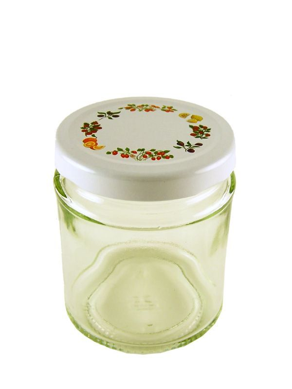 Jam Jars Round Glass 190ml with Fruit Lid 2
