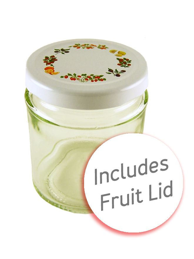 Jam Jars Round Glass 190ml with Fruit Lid