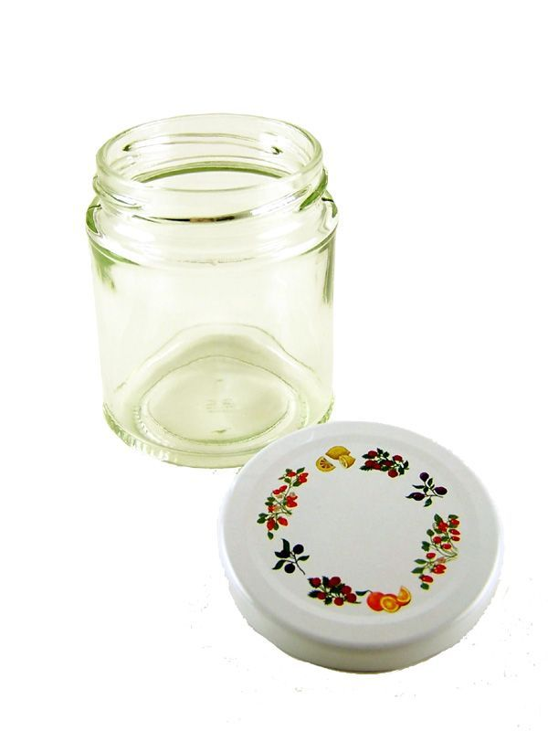 Jam Jars Round Glass 190ml with Fruit Lid 3