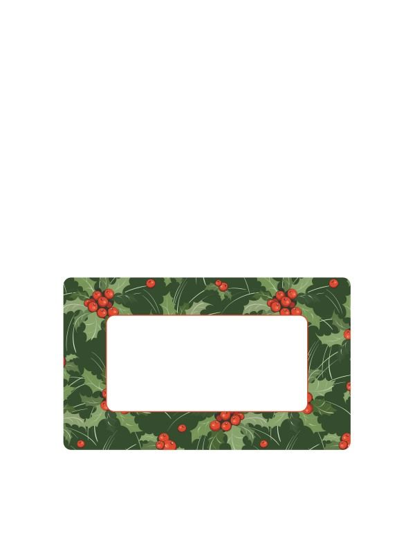 Christmas Green Holly Labels 63x38mm