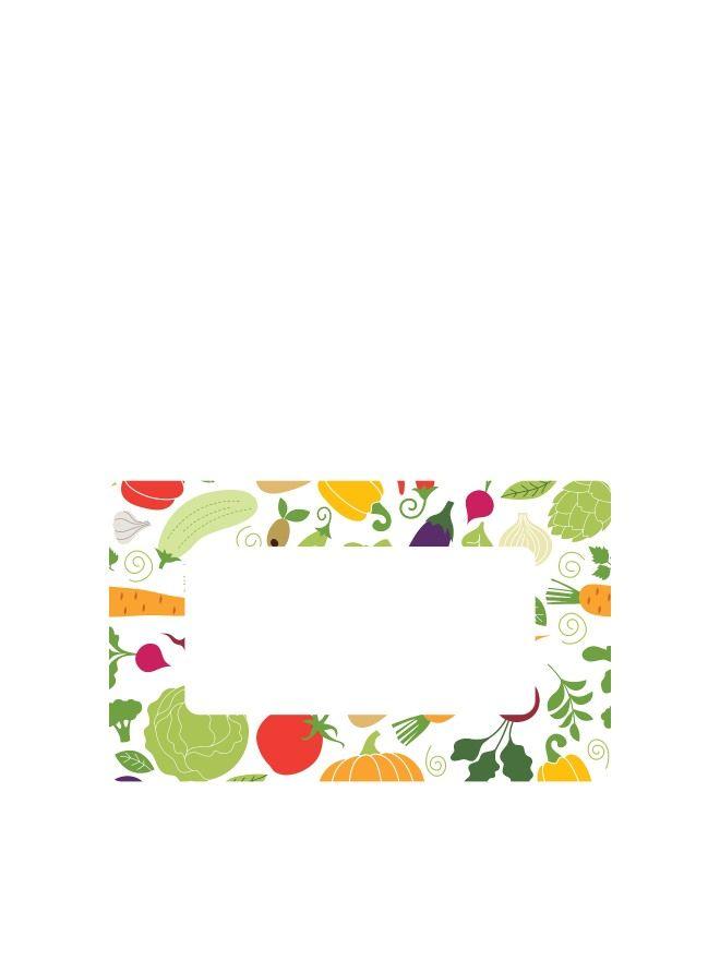 Jar Labels 63x38mm Summer Vegetables