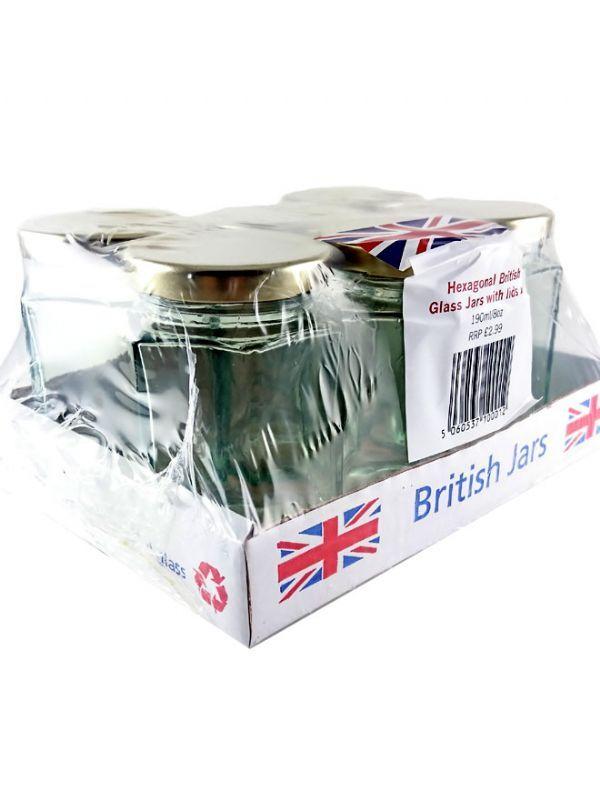 British Jam Jars Hexagonal 190ml (6) 2