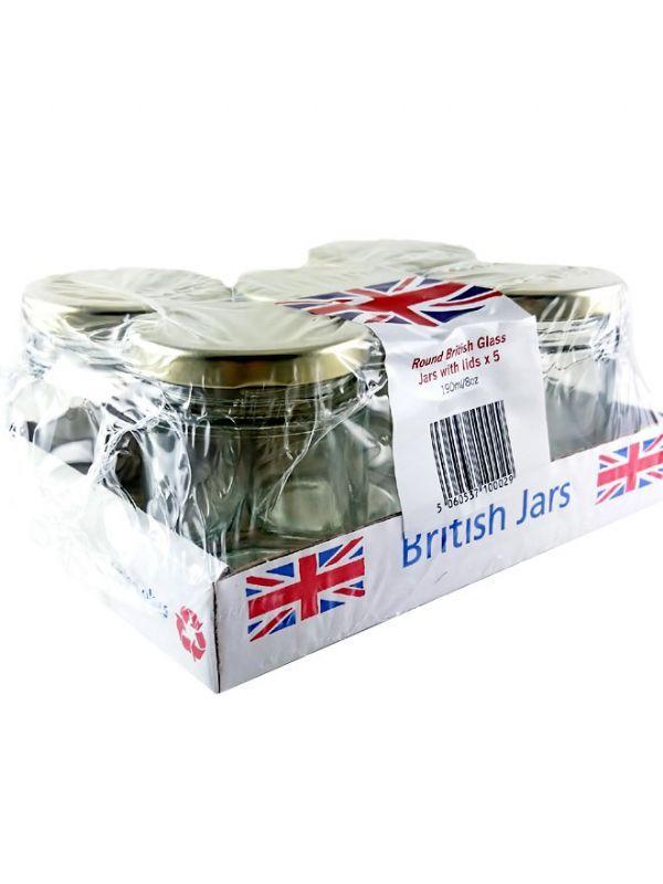 British Jam Jars Round 190ml (5) 2