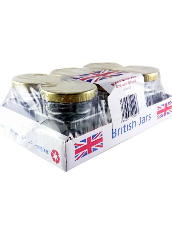 British Jam Jars Square Glass 130ml (6) 2