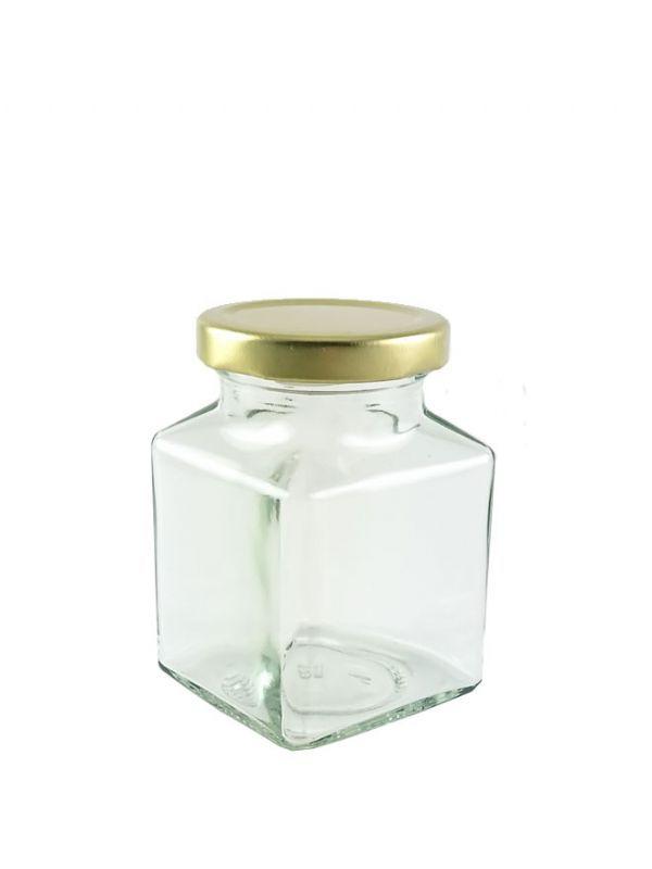 British Jam Jars Square Glass 200ml (6) 1
