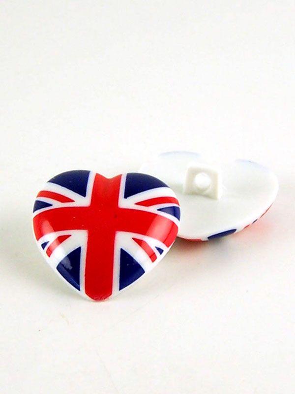 Union Jack Heart Button