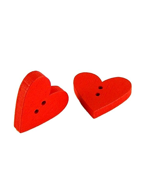 Red Wooden Heart Button