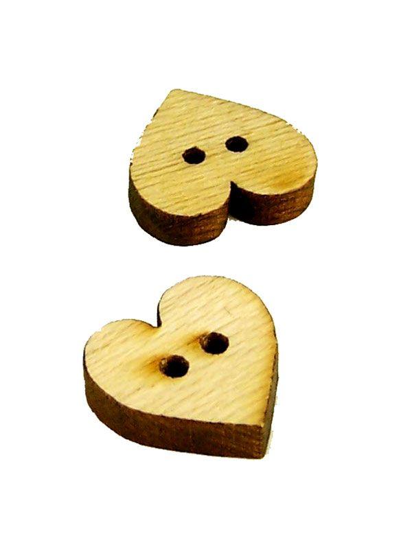 Wooden Heart Button