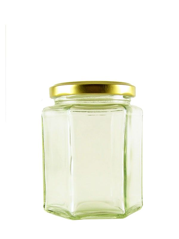Jam Jars Hexagonal Glass 110ml (x10) with Gold Lid