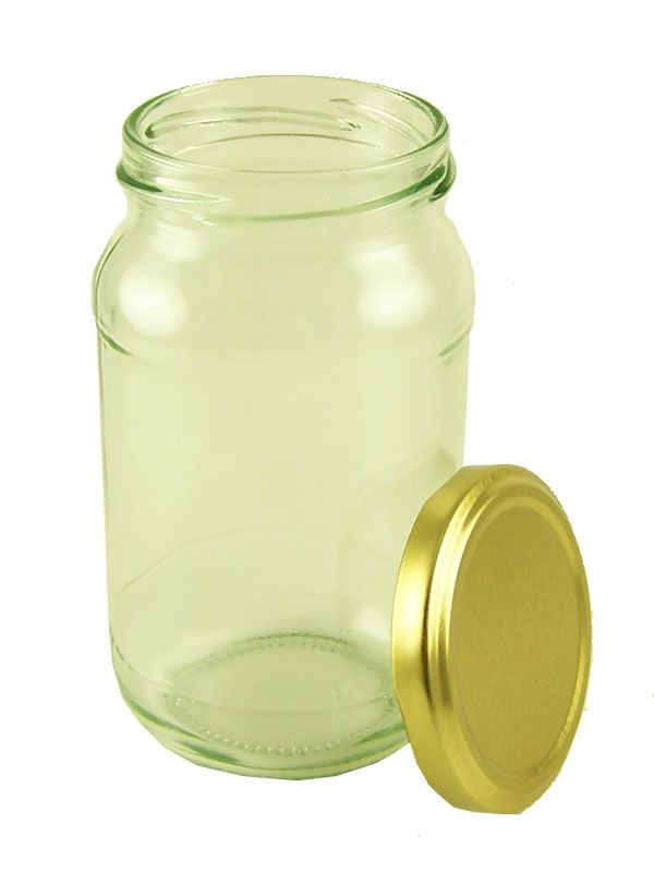 Jam Jars Round Glass 16oz with Gold Lid x12