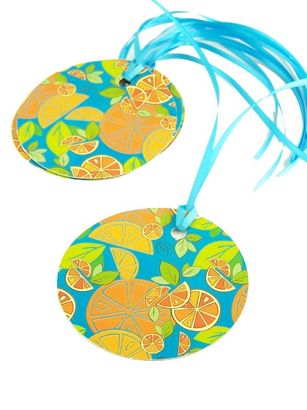 Round Tags Mixed Citrus with Ribbon x5