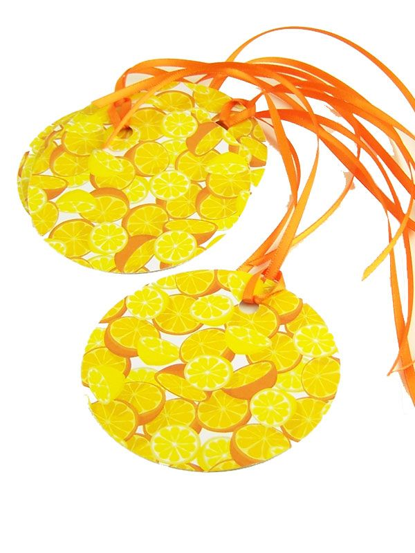 Round Tags Orange & Lemon with Ribbon x5
