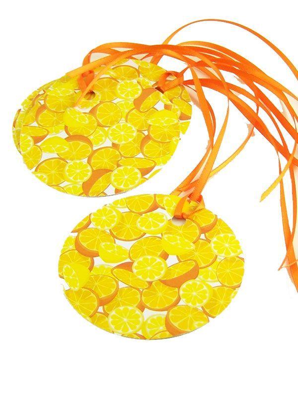 Round Tags Orange & Lemon with Ribbon x5 1
