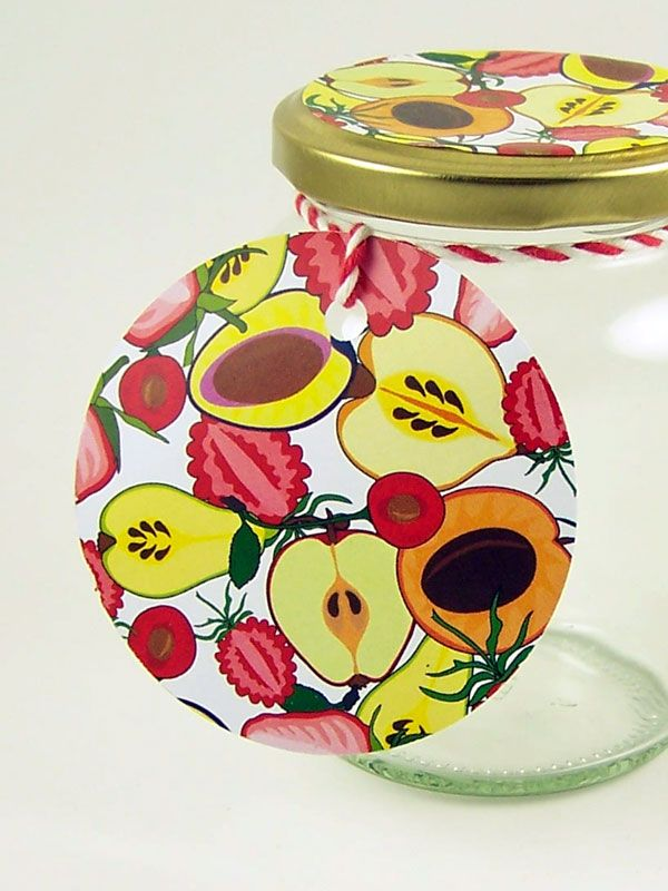 Round Tags Summer Fruits with Ribbon x5