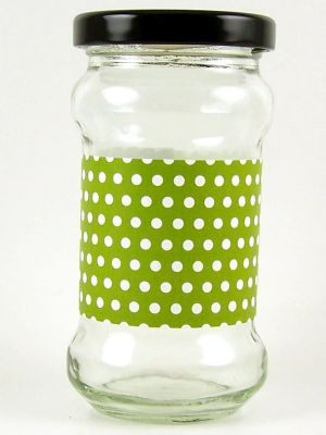 Love jam jars | B Lime green spot jar wrap