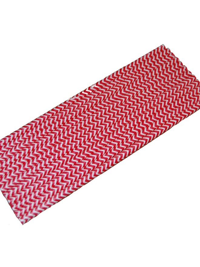 Straws Red Chevron x12