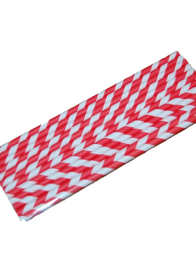 Paper Straws Red Stripe x12