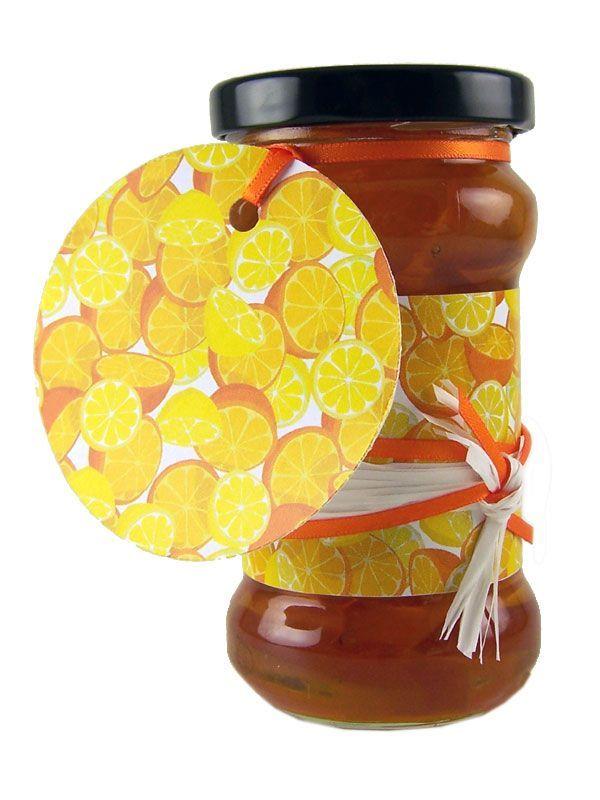 Round Tags Orange & Lemon with Ribbon x5 2