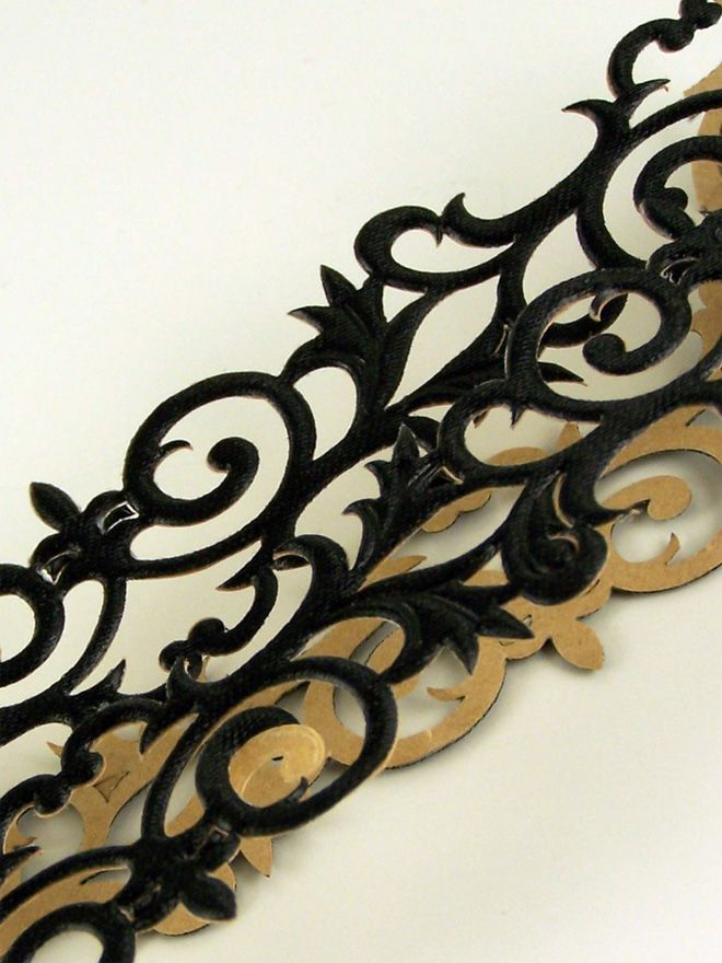Black Scroll Trim 50cm