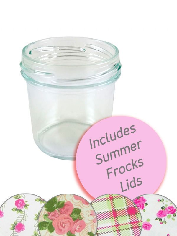 Jam Jars Round Glass Bonta 120ml Summer Frocks Lids + Labels x35 1