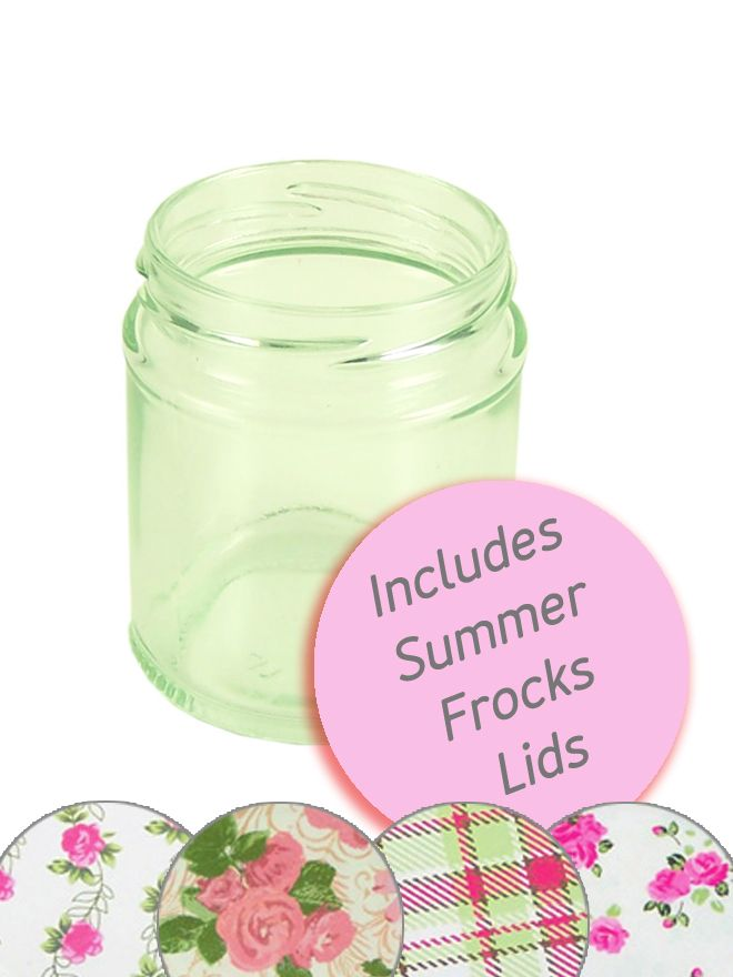 Jam Jars Round Glass 190ml Summer Frocks Lid