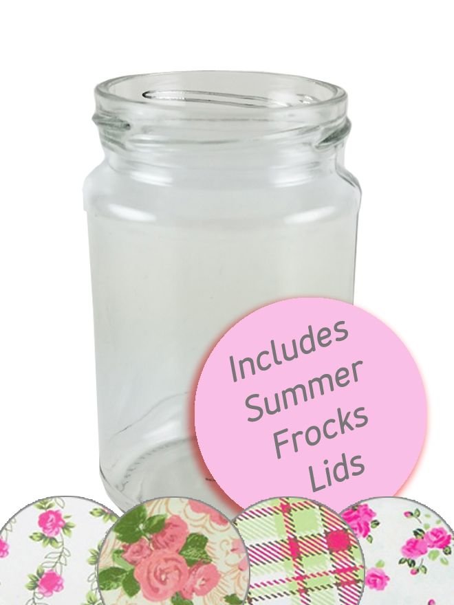 Jam Jars Round Glass 290ml Summer Frocks Lids x32