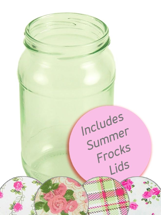Jam Jars Round Glass 454g Summer Frocks Lids x 28